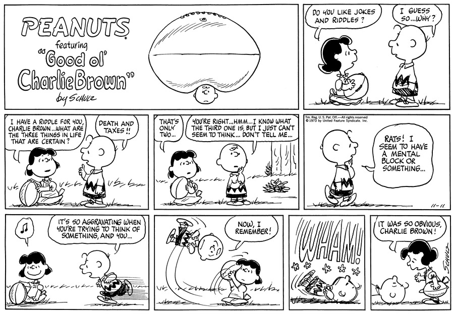 Peanuts Comic Strip for November 11, 1973