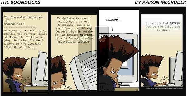 The Boondocks on Sunday May 9, 1999 Comic Strip