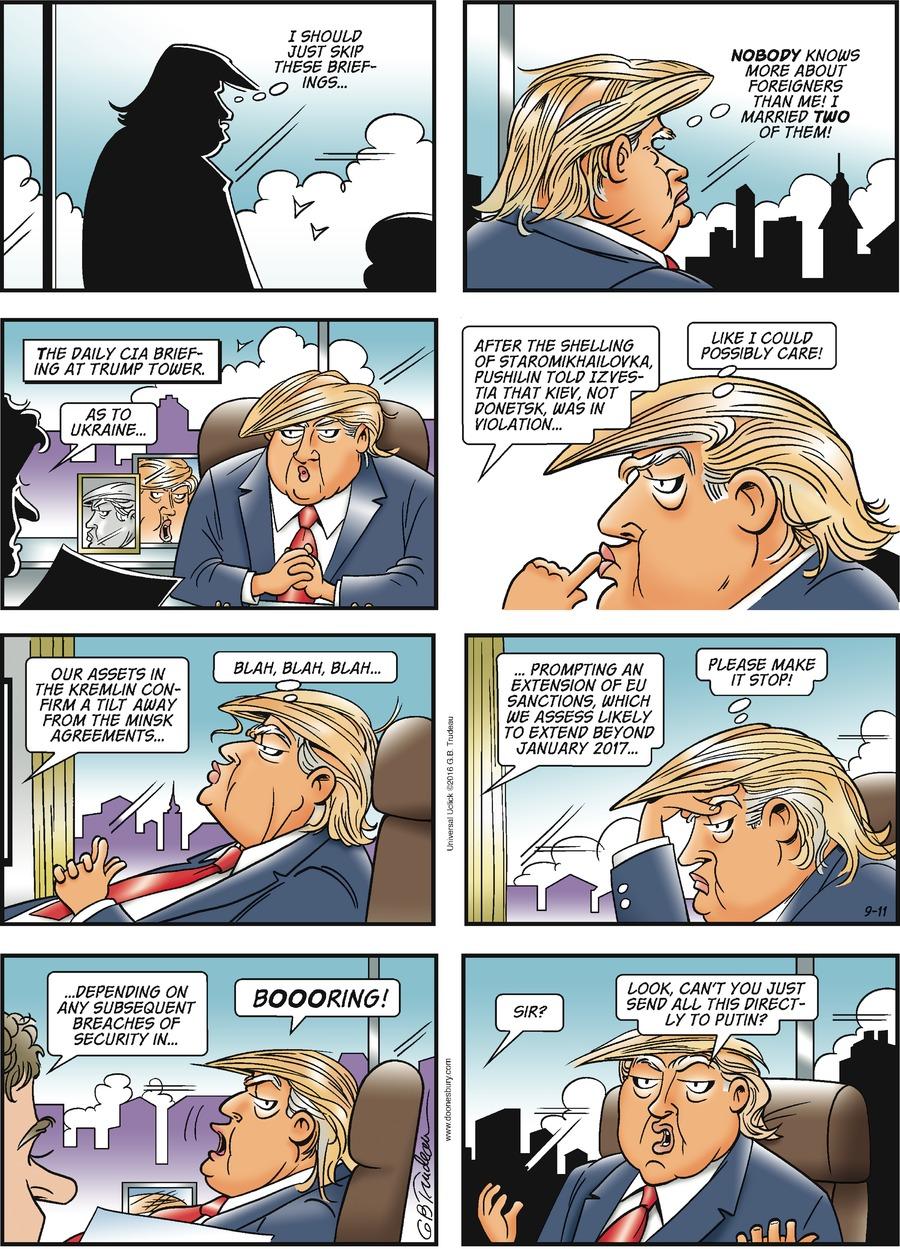Doonesbury Comic Strip for September 11, 2016