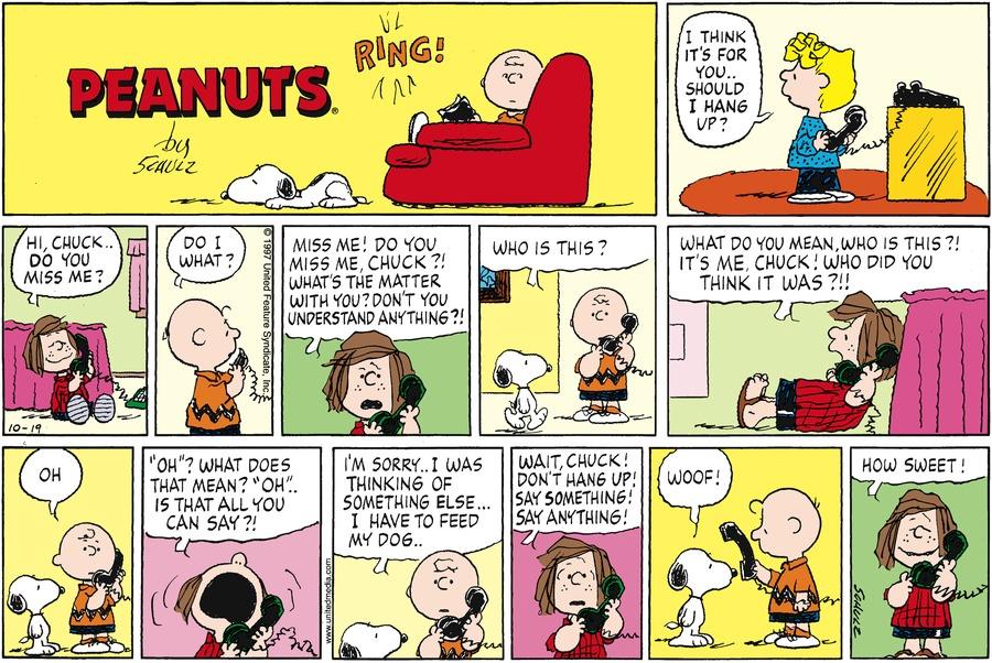 Peanuts Comic Strip for October 19, 1997