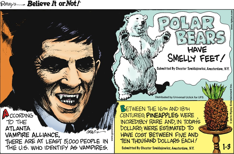 Ripley's Believe It or Not for Jan 3, 2016 Comic Strip