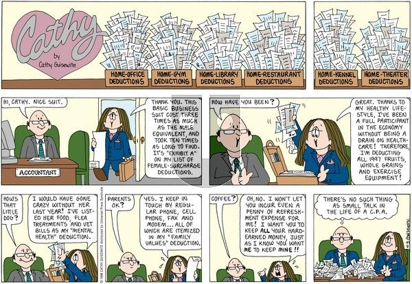 Cathy on Sunday April 5, 1998 Comic Strip
