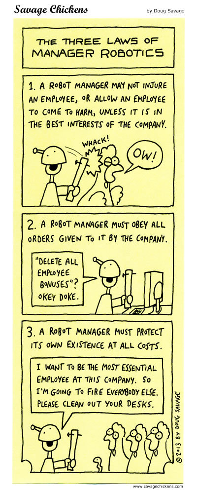 The Three Laws of Manager Robotics