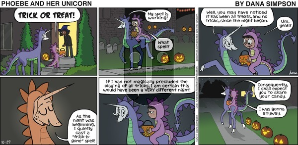 Phoebe and Her Unicorn on October 29, 2017 Comic Strip