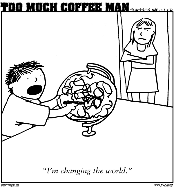 Too Much Coffee Man Comic Strip for September 10, 2017