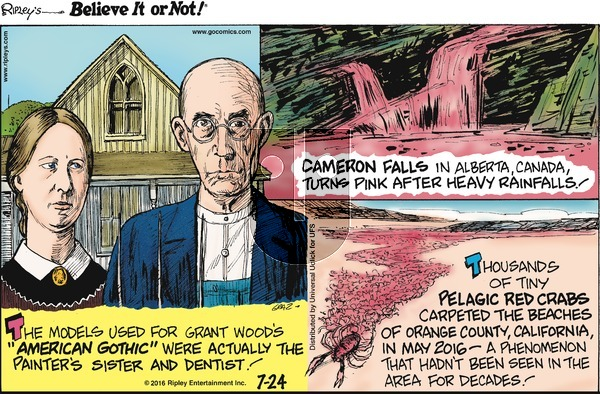 Ripley's Believe It or Not on Sunday July 24, 2016 Comic Strip