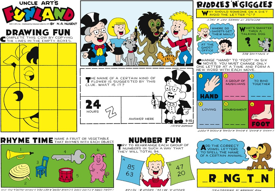Uncle Art's Funland for Sep 15, 2013 Comic Strip