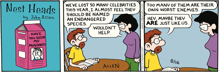 Nest Heads Comic Strip for August 16, 2015