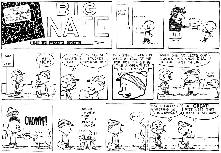 Big Nate Comic Strip for January 23, 1994