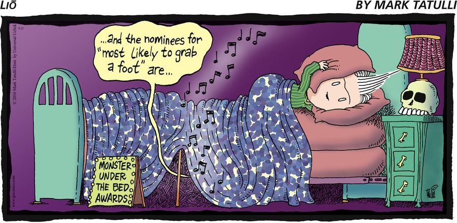 """Monster under the bed awards: ...and the nominees for """"most likely to grab a foot"""" are..."""
