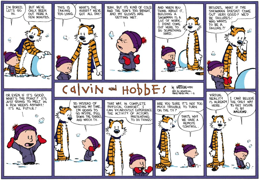 Calvin and Hobbes Comic Strip for January 08, 1995
