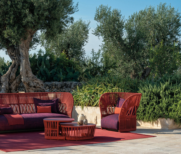 Many of the new weaves now come in colors, like the Cliff Deco collection in rusty red rope designed by Ludovica and Roberto Palomba for Talenti, which also features nesting tables.