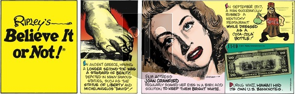 Ripley's Believe It or Not on Sunday November 19, 2017 Comic Strip