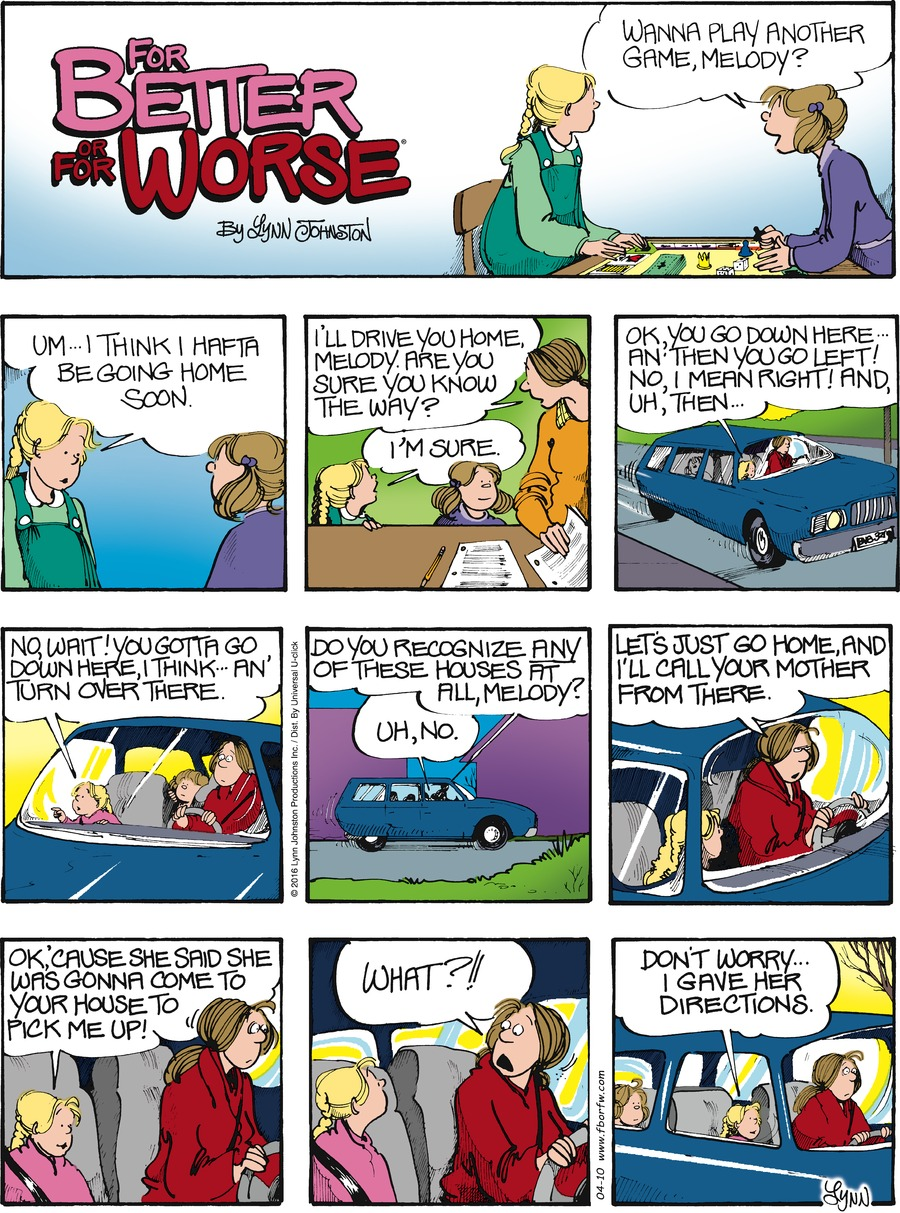 For Better or For Worse Comic Strip for April 10, 2016