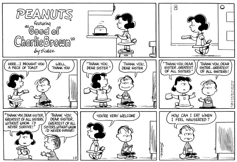 Peanuts Comic Strip for January 08, 1967