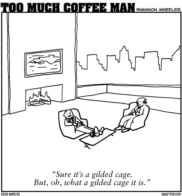 Too Much Coffee Man Comic Strip for September 11, 2017