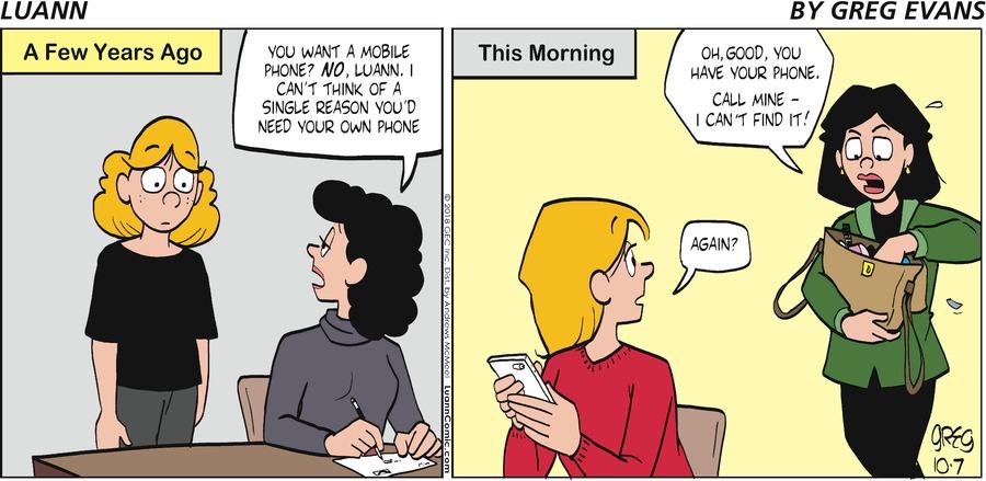 Luann Comic Strip for October 07, 2018