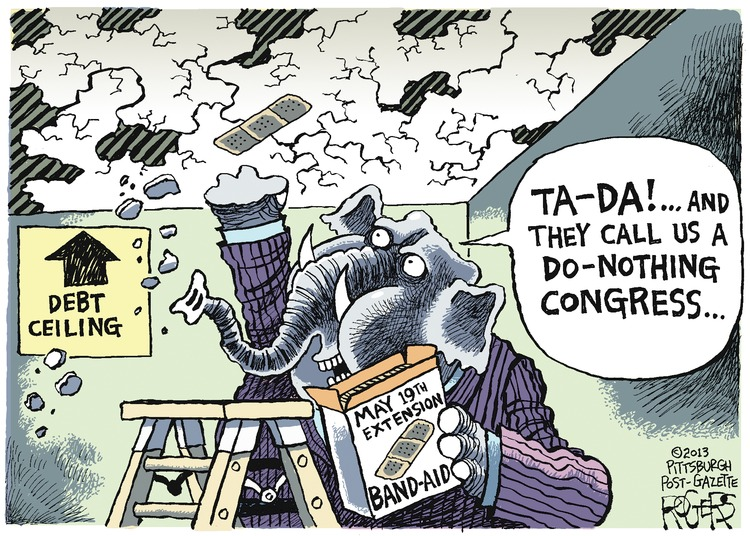 Elephant: Ta-da! ...and they call us a do-nothing congress...