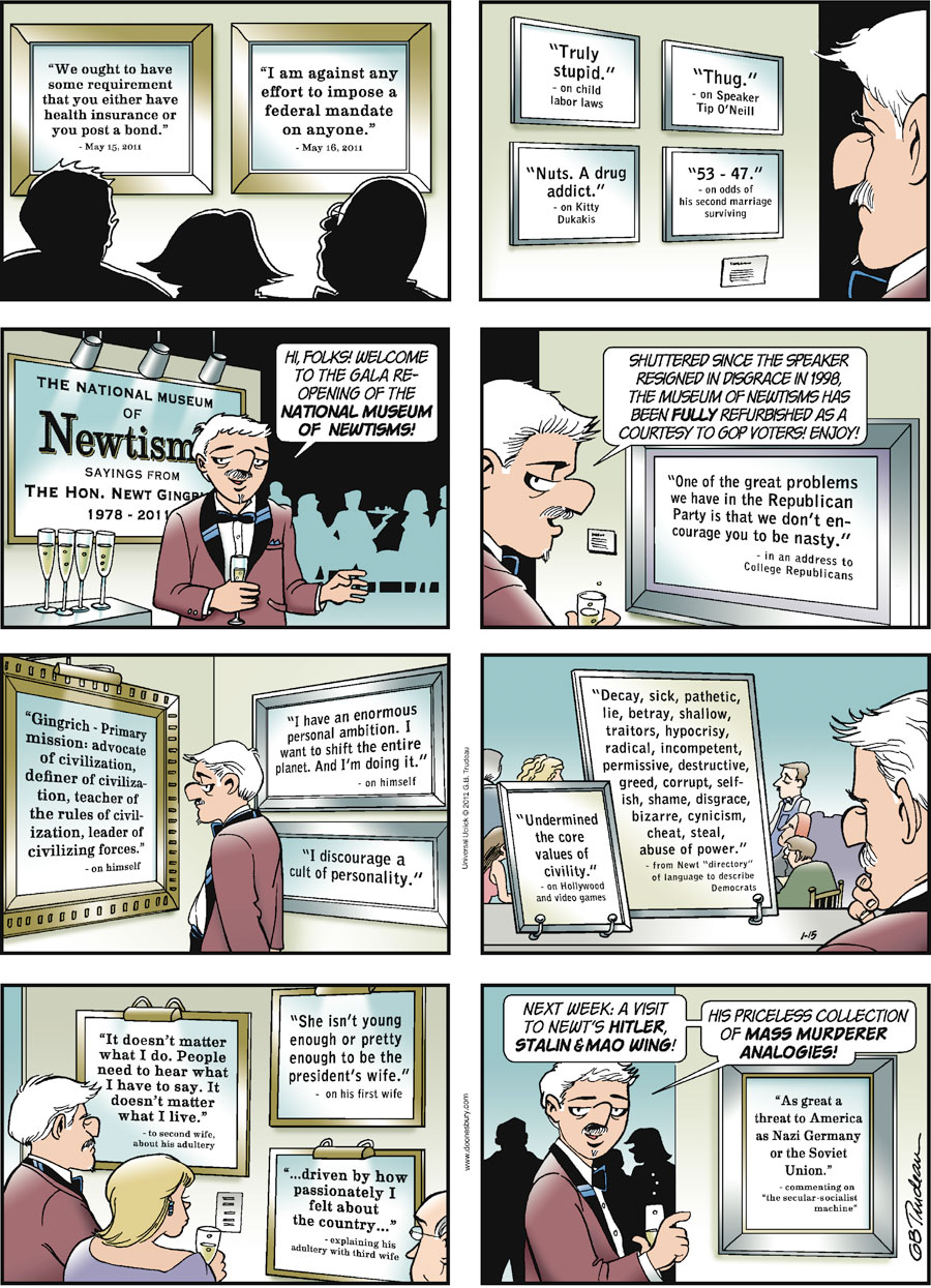 Doonesbury Comic Strip for January 15, 2012