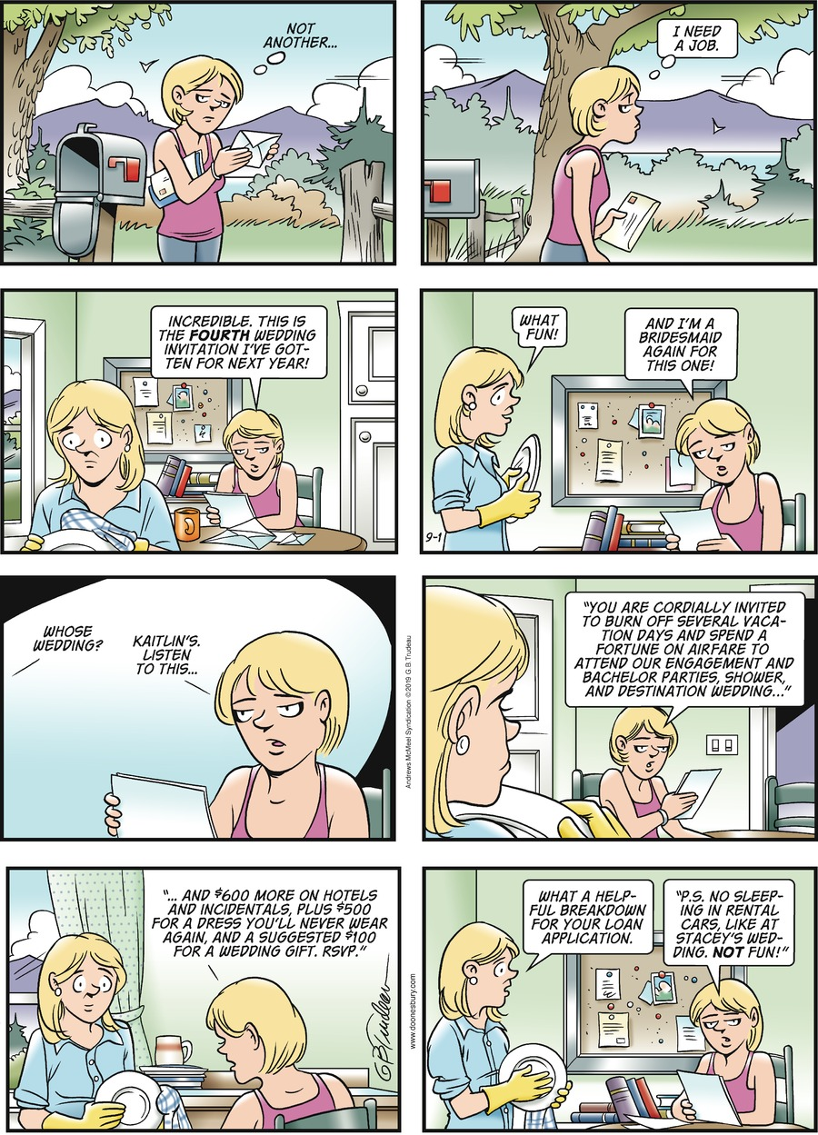 Doonesbury Comic Strip for September 01, 2019