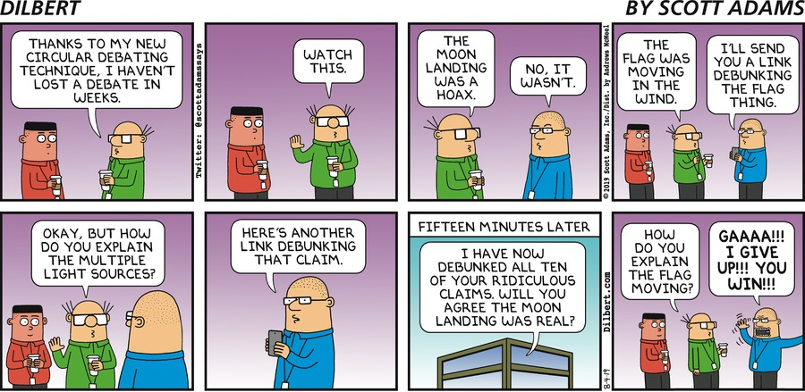 Circular Debating - Dilbert by Scott Adams