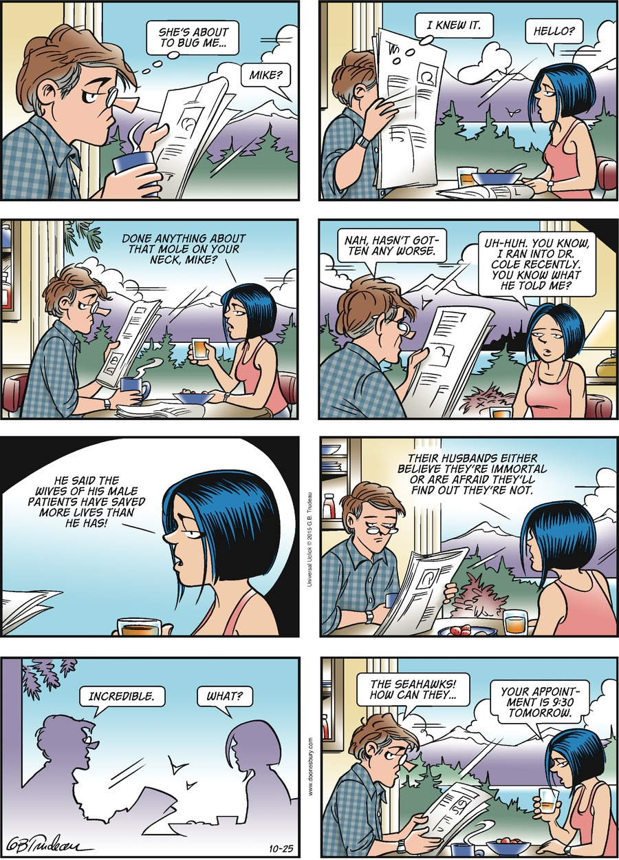 Doonesbury Comic Strip for October 25, 2015
