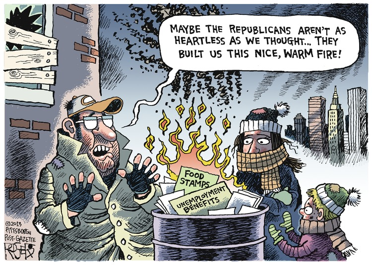 Man: Maybe the Republicans aren't as heartless as we thought...they built us this nice, warm fire!