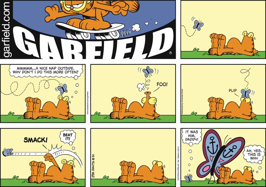 Garfield: Mmmm...a nice nap outside. Why don't I do this more often? Foo!