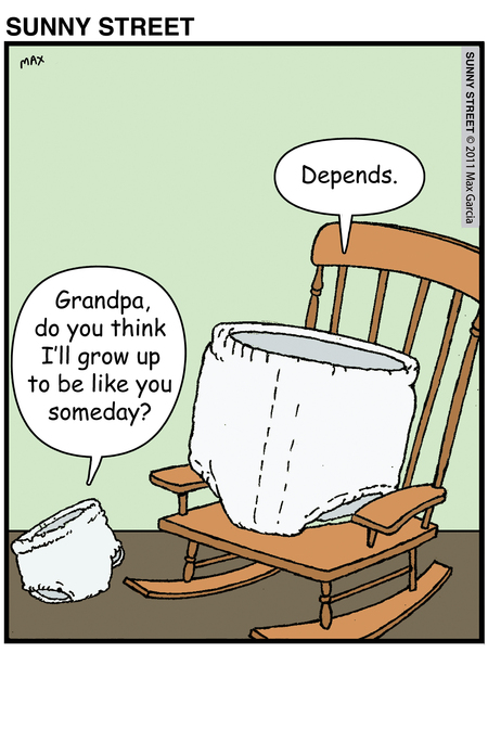 Diaper: Grandpa, do you think I'll grow up to be like you someday?