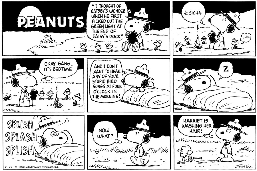 "The Beaglescout is camping out with Woodstock and friends. He reads, ""'I thought of Gatsby's wonder when he first picked out the green light at the end of Daisy's dock.'""<BR><BR> Smoke from the campfire rises. Snoopy sighs. A bird sniffs.<BR><BR> Snoopy thinks, ""Okay, gang..it's bedtime.""<BR><BR> Snoopy is in his sleeping bag. He adds, ""And I don't want to hear any of your stupid bird songs at four o'clock in the morning!""<BR><BR> Snoopy is asleep. ""Z""<BR><BR> Splish Splash Splish. Snoopy is roused, and his hat leaps off his head.<BR><BR> He walks, frowning. Snoopy thinks, ""Now what?""<BR><BR> A bird sits with lather in her hair, in front of a bucket. Snoopy rolls his eyes and thinks, ""Harriet is washing her hair!""<BR><BR>"