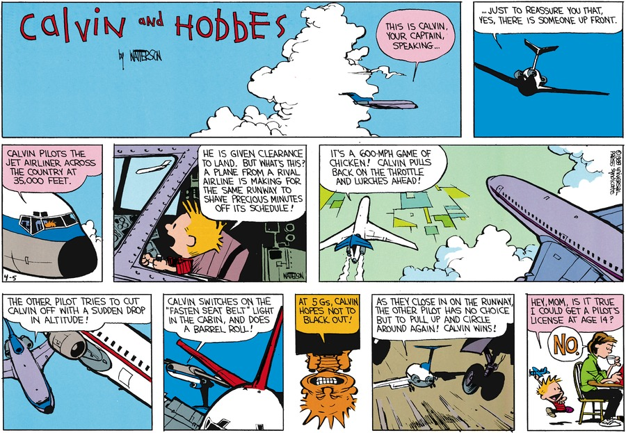 Calvin and Hobbes Comic Strip for May 15, 1988
