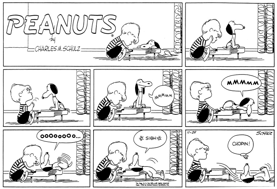 """Snoopy sits on top of Schroeder's piano as Schroeder plays.(BR) (BR) Snoopy turns to look at Schroeder, who conducts with his finger, counting off the beats as he plays.(BR) (BR) """"Mmmmm"""" Snoopy closes his eyes and smiles blissfully.(BR) (BR) """"MMMMM"""" Snoopy lies down on the piano and leans his head over the edge.(BR) (BR)Snoopy lies on his back and kicks his legs in the air, still smiling. """"OOOOOOOO...""""(BR) (BR)Sighing, Snoopy slides down off the piano.(BR) (BR) He lies on his back on the floor and thinks, """"Chopin!"""" Schroeder gazes at him.(BR) (BR)"""