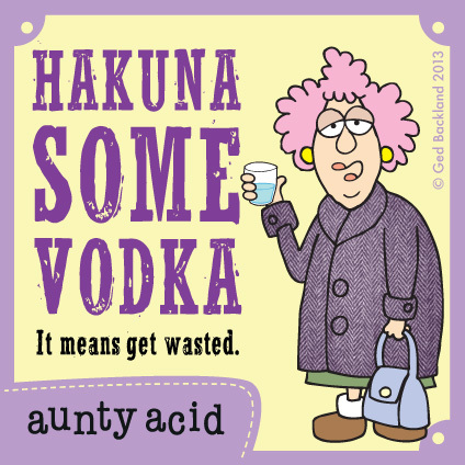 Hakuna some vodka. It means get wasted.