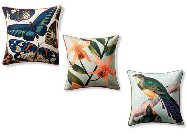 Three new pillows from Frontgate were produced with 18th- and 19th-century horticultural and botanical imagery in archives from the New York Botanical Garden. The vivid depictions are digitally printed with UV-resistant paint on durable outdoor fabric -- so the colors will be retained for many seasons. The 20-inch-square pillows are, from top, are Garden Butterfly, Tiger Lily and Trogon.
