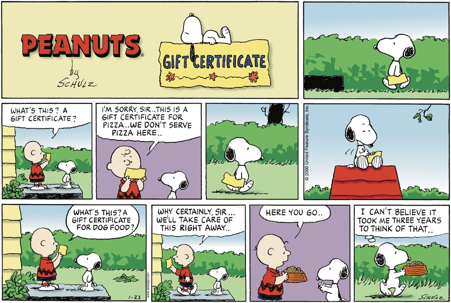 Peanuts Comic Strip for January 23, 2000