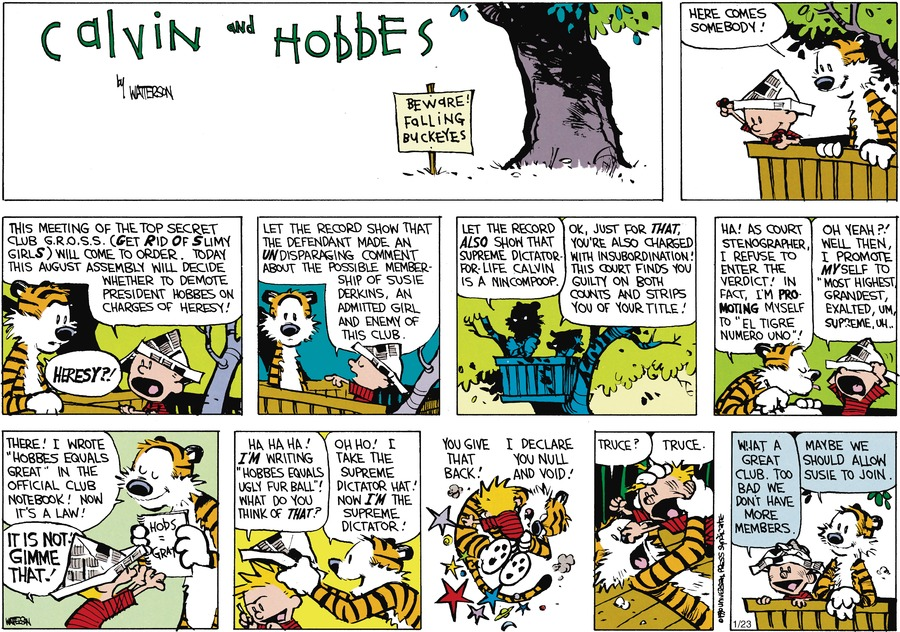 "Hobbes: Here comes somebody! Calvin: This meeting of the top secret club G.R.O.S.S. (Get Rid Of Slimy girlS) will come to order. Today this august assembly will decide whether to demote President Hobbes on charges of heresy! Hobbes: Heresy?! Calvin: Let the record show that the defendant made an undisparaging comment about the possible membership of Susie Derkins, an admitted girl and enemy of this club. Hobbes: Let the record also show that supreme Dictator for Life Calvin is a nincompoop. Calvin: Ok, just for that, you're also charged with insubordination! This court finds you guilty on both counts and strips you of your title! Hobbes: Ha! As court stenographer I refuse to enter the verdict! In fact, I'm promoting myself to ""El Tigre Numero Uno!"" Calvin: Oh yeah?! Well then, I promote myself to ""most highest grandest, exalted, um, supreme, um....Hobbes: There! I wrote ""Hobbes equals great"" in the official club notebook! Now it's a law! Calvin: It is not! gimme that! Calvin: Ha ha ha! I'm writing ""Hobbes equals ugly furball!"" What do you think of that? Hobbes: Oh ho! I take the supreme dictator hat! Now I'm the supreme dictator! Calvin: You give that back! Hobbes: I declare you null and void! Calvin: Truce! Hobbes: Truce! Calvin: What a great club. Too bad we don't have more members. Hobbes: Maybe we should allow Susie to join."