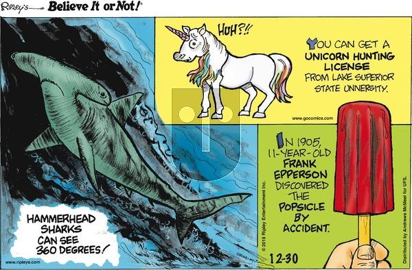 Ripley's Believe It or Not on Sunday December 30, 2018 Comic Strip