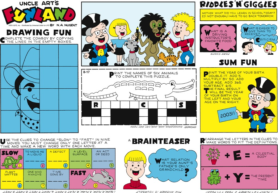 Uncle Art's Funland Comic Strip for August 17, 2014