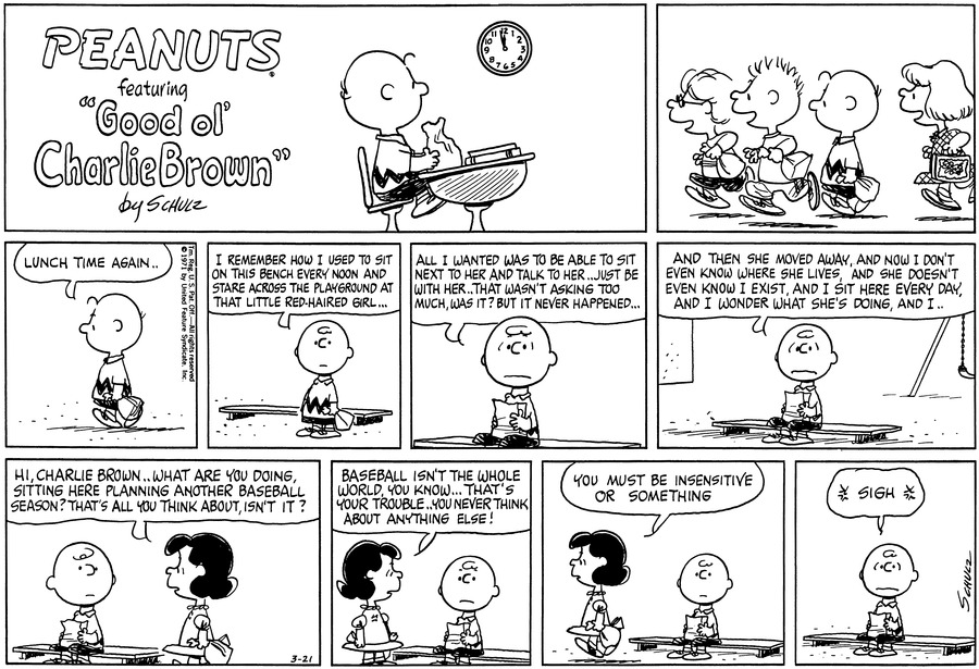 Peanuts Comic Strip for March 21, 1971