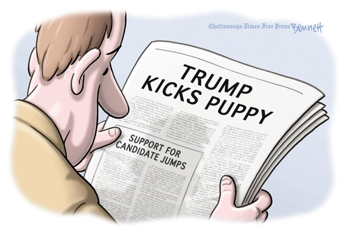 Editorial cartoon: Trump Kicks Puppy