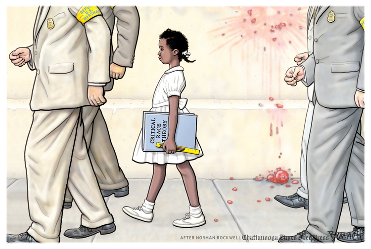 Image based on iconic photo from school desegration in the 1950s:  Small black girls escorted by Federal Marshalls into a school carrying a book titled