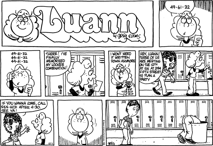 Luann Againn Comic Strip for December 07, 2014