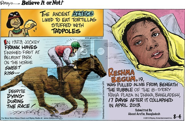Ripley's Believe It or Not on Sunday August 4, 2013 Comic Strip