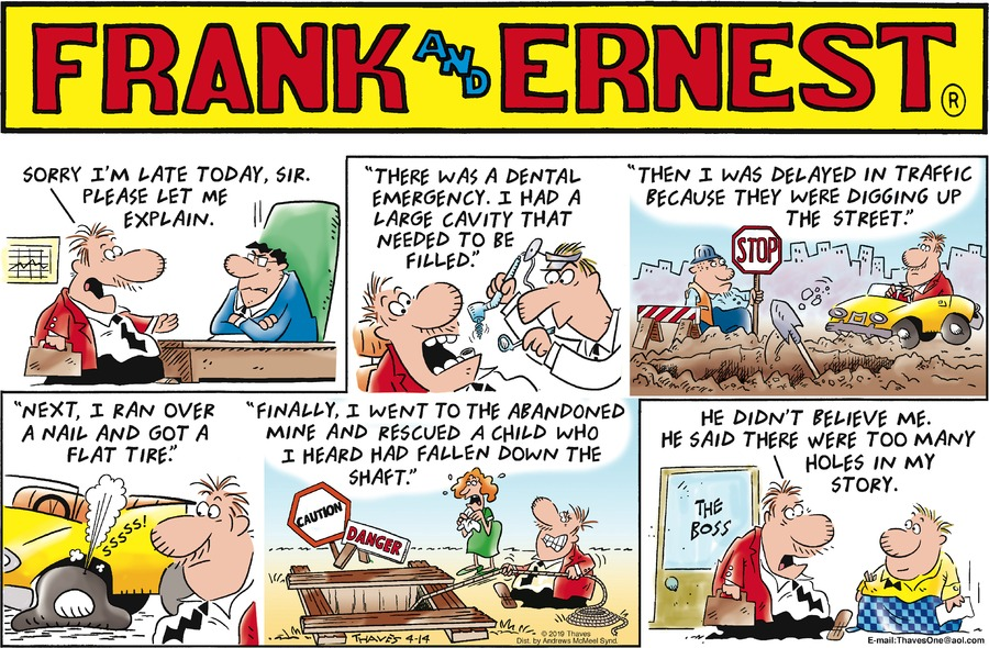 Frank and Ernest Comic Strip for April 14, 2019