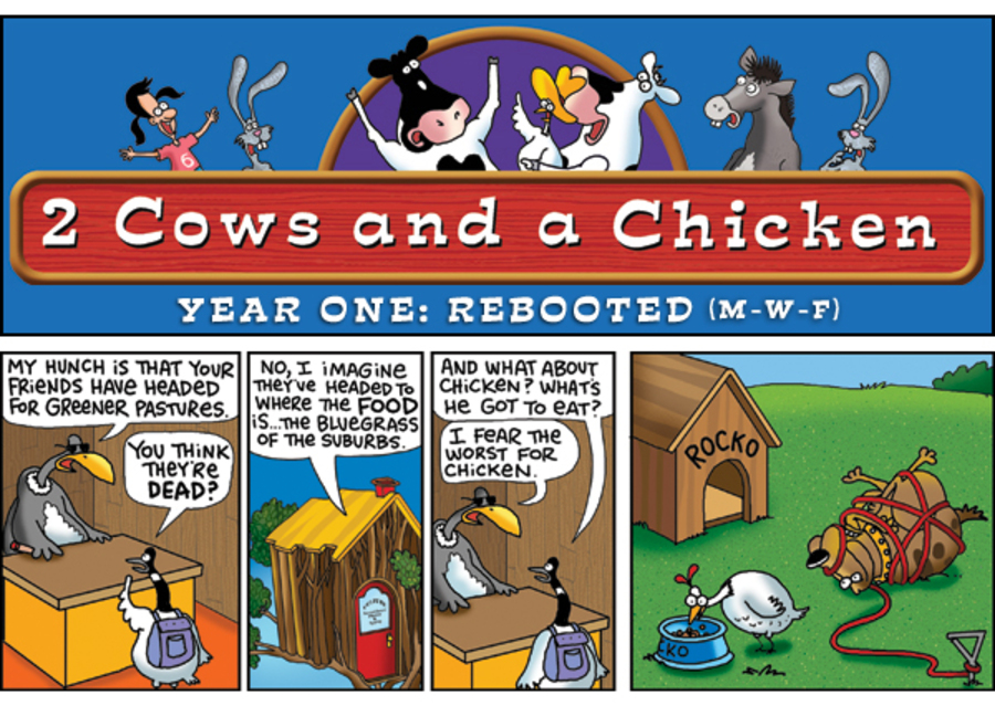 2 Cows and a Chicken for Dec 12, 2012 Comic Strip