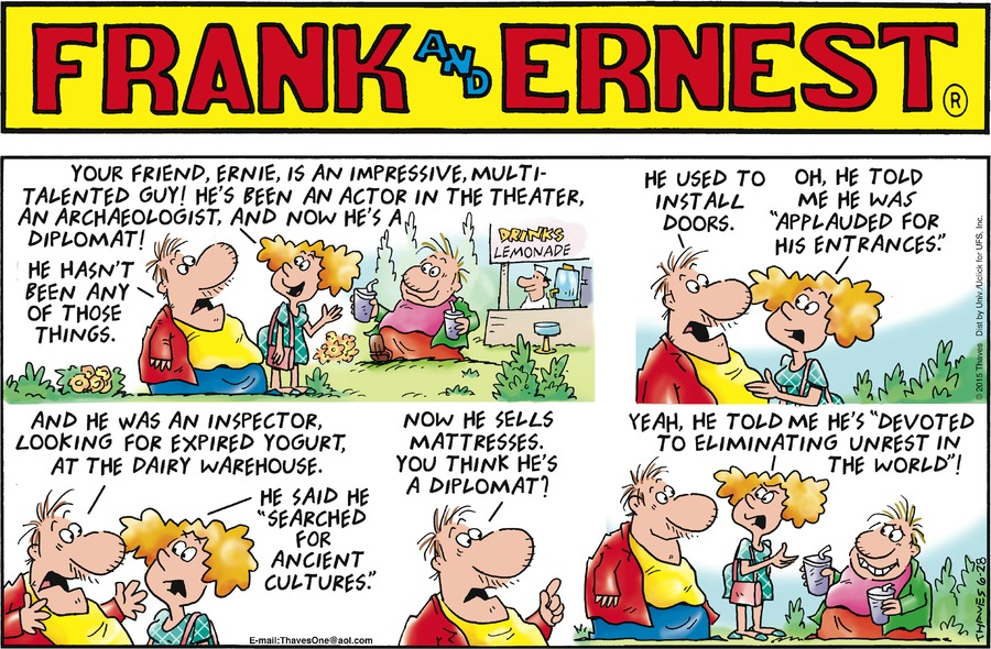 Frank and Ernest Comic Strip for June 28, 2015