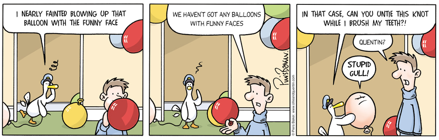Ollie: I nearly fainted blowing up that balloon with the funny face