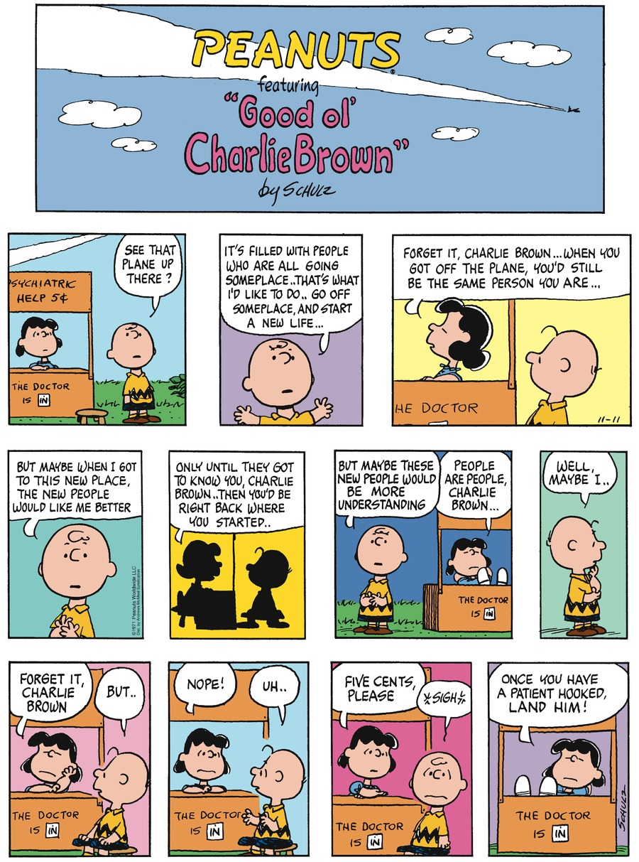 Peanuts Comic Strip for November 11, 2018