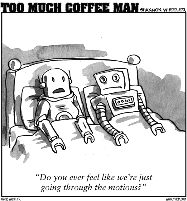 Too Much Coffee Man Comic Strip for February 03, 2016
