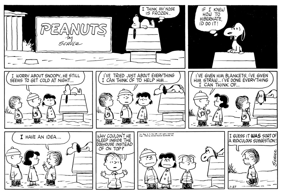 Peanuts Comic Strip for January 27, 1963